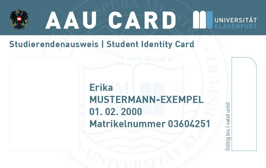 Musterexemplar der AAU Card für Studierende