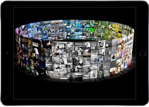 3-D-Darstellung von Bildern mit Farbsortierung (Fotos: Mirflickr Dataset)