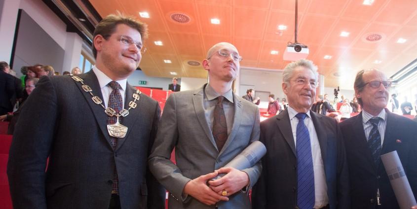 Oliver Vitouch, René Schallegger, Heinz Fischer und Manfred Bockelmann | Foto: aau/Maurer
