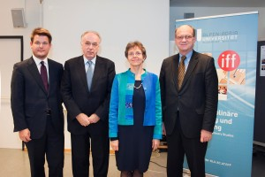 Oliver Vitouch, Pavel Kabat, Verena Winiwarter und Robert Rebhahn (Vorsitzender Universitätsrat) (v.l.)