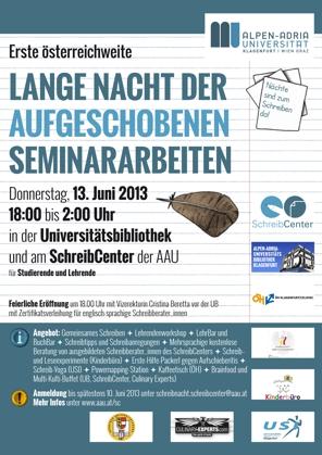 Plakat Schreibnacht AAU