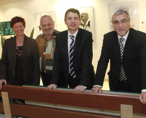 Barbara Maier, Fritz Unegg, Gernot Schmerlaib und Rektor Heinrich C. Mayr | Foto: aau/Maurer