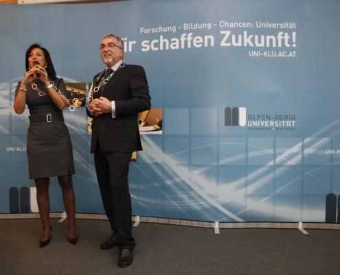 Ute Pichler und Rektor Heinrich C. Mayr | Foto: aau/Maurer