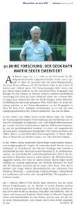 UNIsono-Bericht: 30 Jahre Forschung. Der Geograph Martin Seger emeritiert (3/2008)