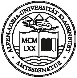 Amtssignatur der AAU – Bildmarke, schwarz-weiß