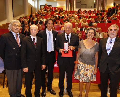 v.l.n.r.: Hans-Joachim Bodenhöfer, Wolfgang Nadvornik, Karl-Heinz Grasser, Herbert Kofler, Elisabeth Freismuth und Heinrich C. Mayr   Foto: aau/Jost