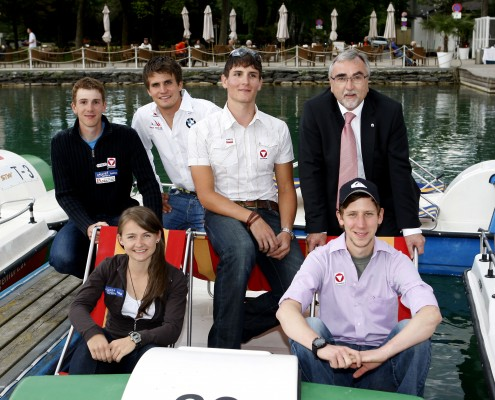 v.l.n.r.: Christian Pichler, Niko Resch, Florian Berg, Heinrich C. Mayr, Lisa Holzfeind und Martin Koch | Foto: aau/Kuess