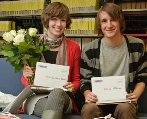 1. Kärntner Campus-Literaturpreis: Preisträger Christina Maria Tosoni und Daniel Blümel | Foto: Zeitler