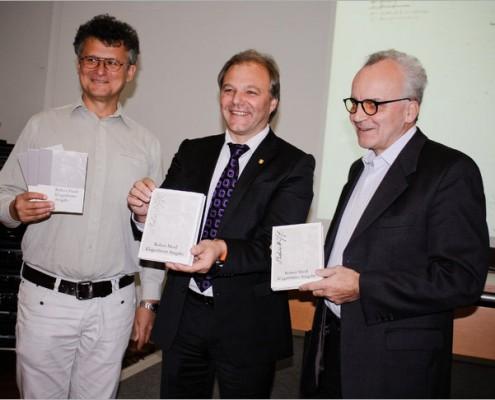 Präsentation Robert Musil Edition, v.l.n.r: Walter Fanta, Albert Gunzer, Klaus Amann | Foto:Katharina Huna/Redaktion aufMUKen