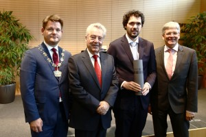 Rektor Oliver Vitouch, Bundespräsident Heinz Fischer, Philipp Hungerländer und Landeshauptmann Peter Kaiser | Foto: aau/Waschnig