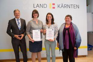 Landeshauptmann Peter Kaiser, Saskia Nadine Enz, Susanne Scheiber, Vizerektorin Gabriele Khan von der PH Kärnten