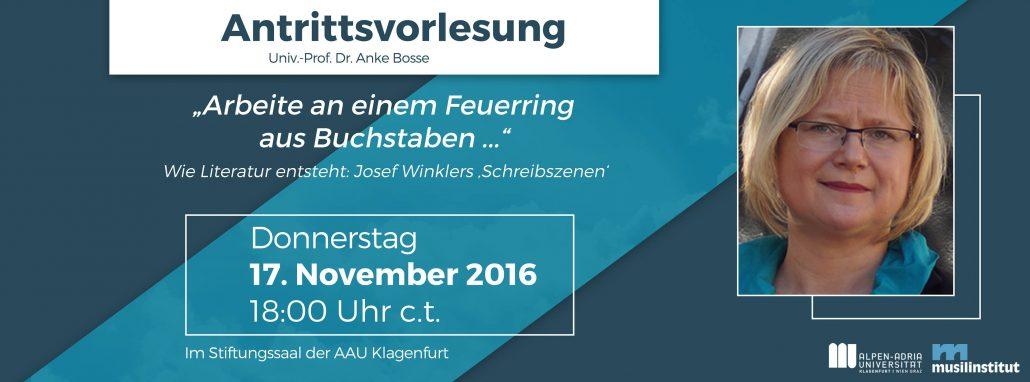Ankündigung Antrittsvorlesung von Anke Bosse