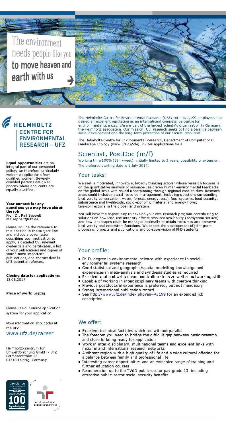 PosDoc at UFZ Leipzig: Quantitative global scale analysis of resource-use driven human-environmental feedbacks