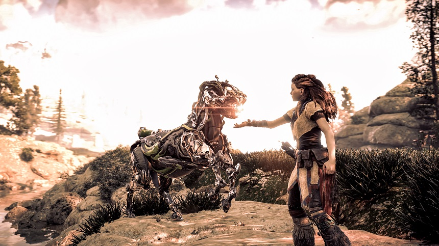 """Horizon Zero Dawn™©2017 Sony Interactive Entertainment Europe. Published by Sony Interactive Entertainment Europe. Developed by Guerrilla. """"Horizon Zero Dawn"""" is a trademark of Sony Interactive Entertainment Europe. All rights reserved."""
