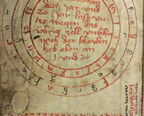 Pergamenthandschrift PE 28. Blatt 9: Scheibe zur Bestimmung des Sonntagsbuchstaben
