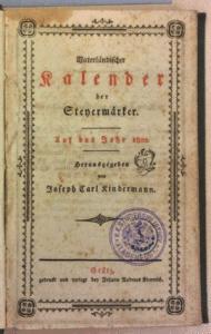 Vaterländischer Kalender der Steyermärker I ES 18600, Titelblatt