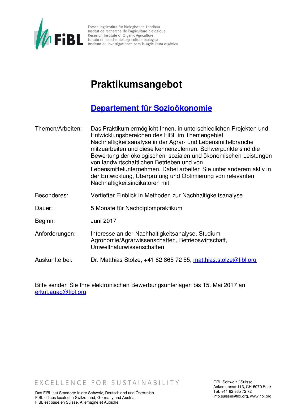 Ausschreibung Praktikum 2017 Sozioökonomie Fibl