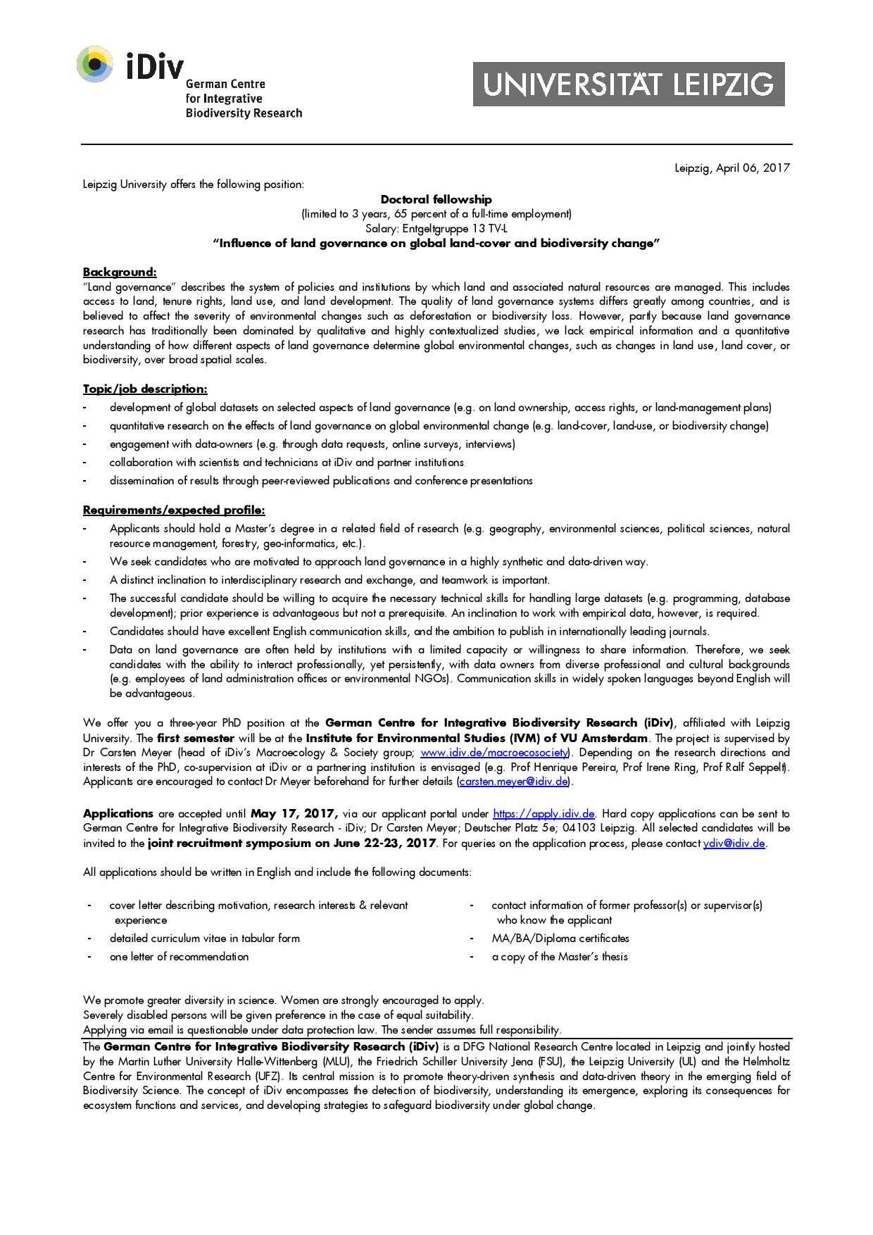 PhD on land governance effects on land change