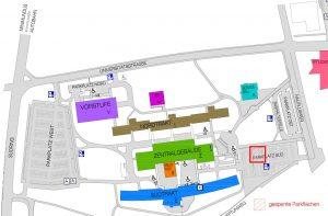 Plan Universität_Sperre Parkplatz Sued