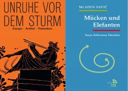 Kombination Buchcover Richard Schuberth: Unruhe vor dem Sturm und Buchcover Mladen Savic: Mücken und Elefanten