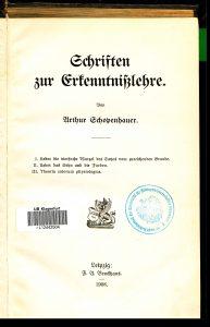 Exponat 5 Broch Schopenhauer Titelblatt | Foto: Bem