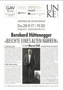 """Plakatankündigung Lesung Bernhard Hüttenegger / Marcus Thill: """"Beichte eines alten narren"""""""