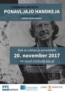Plakat zur Ausschreibung des Literaturwettbewerbs WIEDER HOLEN HANDKE-slowenische Fassung
