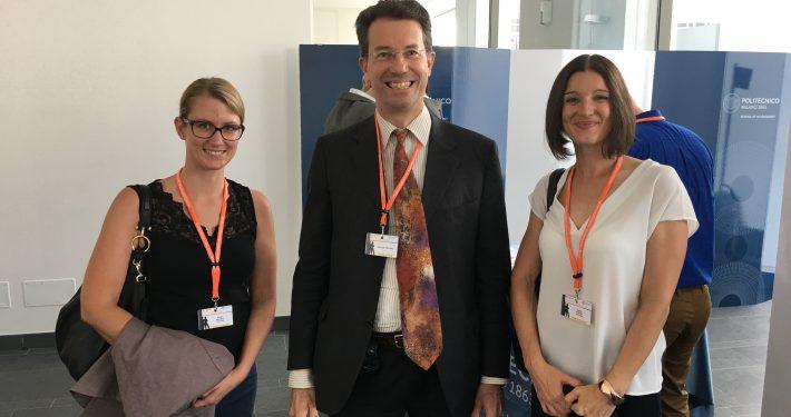 Sanja Korac, Prof. Edoardo Ongaro (Open University und EGPA Präsident) und Birgit Moser bei der EGPA Annual Conference 2017 (v.rechts), Foto: Rondo-Brovetto P.