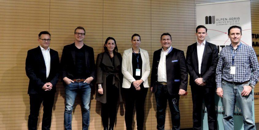 """Fünf Unternehmen aus Kärnten suchen """"kluge Köpfe"""" (Privatbrauerei Hirt, Infineon, Strabag, bitmovin und Kleine Zeitung)   Foto: aau/LK"""