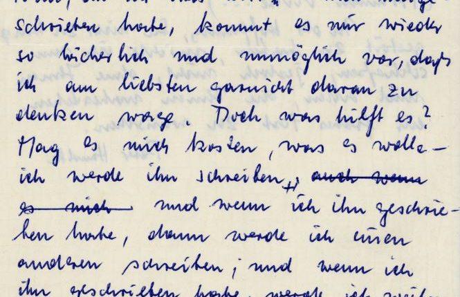 Brief Peter Handke an Reinhard Musar 1961 (Ausschnitt) | Foto aau/Kärntner Literaturarchiv