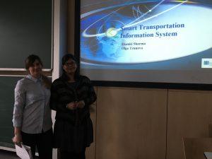 Olga Trunova and Ekanki Sharma present a smart transportation information system, photo: Rondo-Brovetto P.