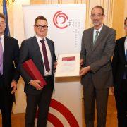 Juryvorsitzender Matthias Karmasin, Klaus Bichler, Bundesminister Heinz Faßmann und VÖZ-Präsident Thomas Kralinger