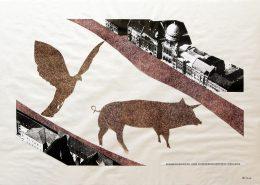 """Das Bild zeigt eine Collage des Architekten und Schriftstellers Franz E. Kneissl mit dem Titel """"Geiermenschenteppich"""""""