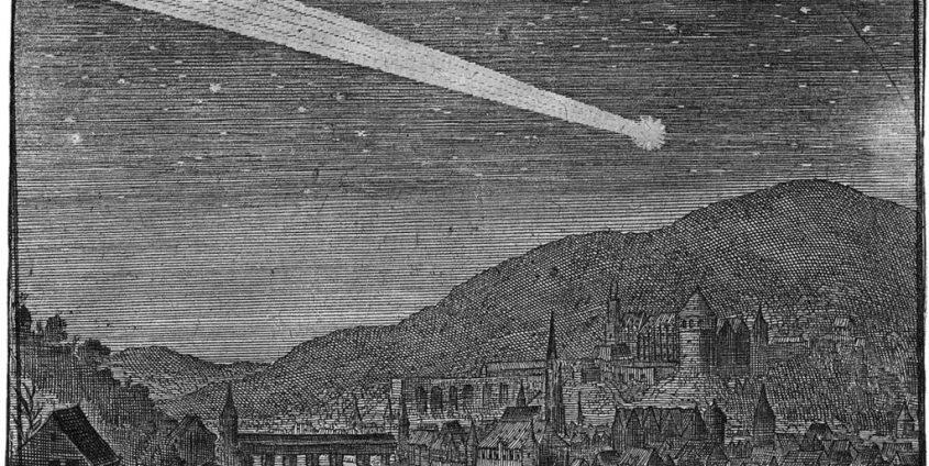 Komet über Heidelberg | Illustration Matthäus Merians. In: Theatrum Europaeum (1635). Bd. 1, S. 101.