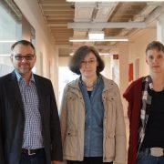 """Das Team rund um die Tagung """"Zwischen Himmel und Alltag"""". Ass.Prof. Mag. Dr. Christian Domenig, Ass.-Prof. Dr. Angelika Kemper und Marion Stefanie Güldner."""