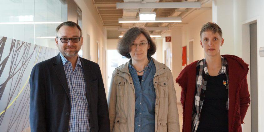 """Das Team rund um die Tagung """"Zwischen Himmel und Alltag"""". Ass.Prof. Mag. Dr. Christian Domenig, Ass.-Prof. Dr. Angelika Kemper und Marion Stefanie Güldner"""
