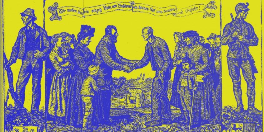 Switbert Lobisser: Kärntner Volksabstimmung 10. Oktober 1920, Holzschnitt 1930 | Bearbeitung: Mayü Belba 2018