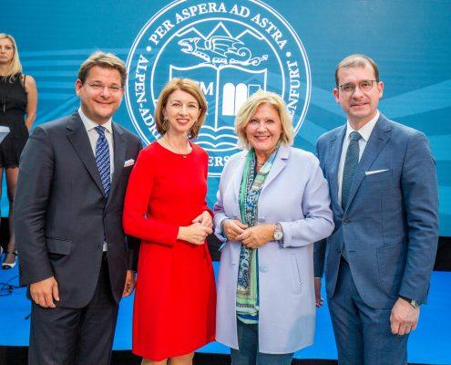 Neujahrsempfang 2018 und Eröffnungsfeier an der Universität Klagenfurt (v.l. Oliver Vitouch, Gaby Schaunig, Maria-Luise Mathiaschitz und Hans-Peter Weiss)