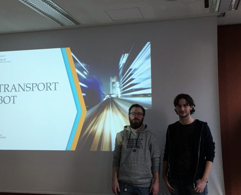 "Elia Bettani and Edwin Casiraghi present a multi-model travel planner called ""Transport Bot"", photo: Rondo-Brovetto P."