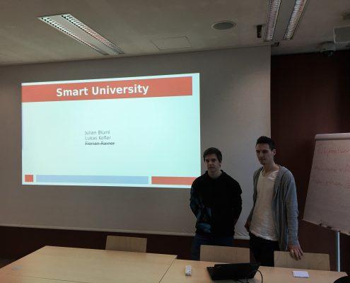"Julian Blüml and Lukas Kofler present a ""Smart University"", photo: Rondo-Brovetto P."