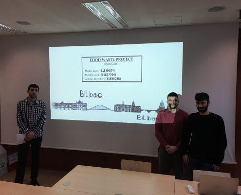 """Markel Lavin, Mattia Fratello and Antonio Buccoliero present a """"Food Waste Project for Bilbao"""", photo: Rondo-Brovetto P."""
