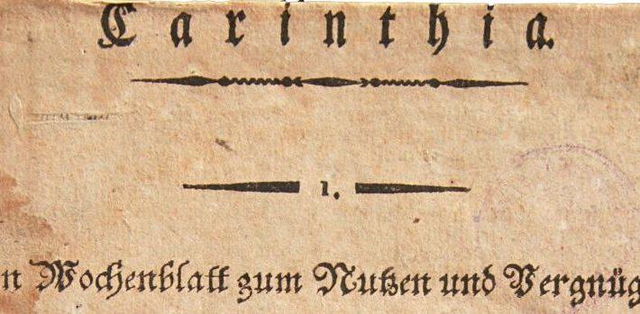 Carinthia 1811, Titelblatt, Ausschnitt | Foto: aau/bem
