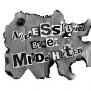 """Grafik mit Veranstaltungstitel """"Aggressionen gegen Minderheiten"""""""