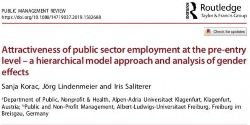 "New article in the Public Management Review ""Atractiveness of public sector employment at the pre-entry level - a hierarchical model approach and analysis of gender effects"" by Sanja Korac, Jörg Lindemeier and Iris Saliterer, photo: Rondo-Brovetto P."