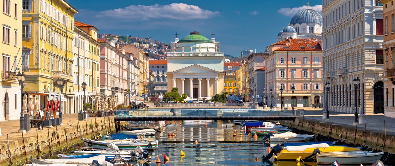 Trieste channel and Ponte Rosso square view