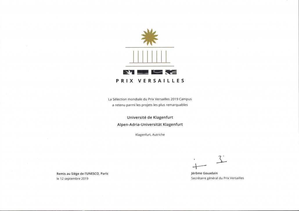 Prix Versailles Urkunde für die Universität Klagenfurt, 12.9.2019