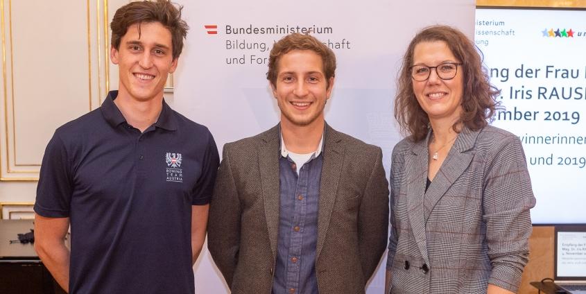 Maximilian Lex, Tobias Riedel, Iris Rauskala - Ehrung BMBWF 2019