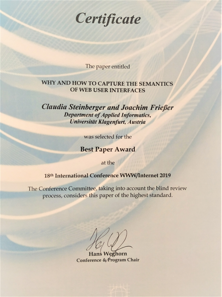 Best Paper Awadr ICWI2019