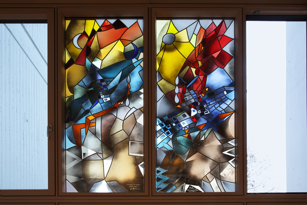 Kunst auf dem Campus, Karl Brandstätter: Der raue und der glatte Stein, 2003