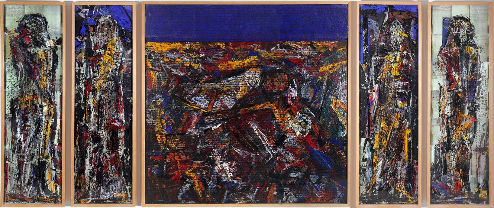 Kunst auf dem Campus, Valentin Oman: Zweisprachiges Kärnten, Triptychon zum Kriegstagebuch meines Vaters, 1995